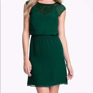 Trina Turk Silk Shiffon Green Beaded Dress Sz 6